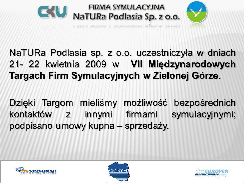 NaTURa Podlasia sp. z o.o. uczestniczyła w dniach 21- 22 kwietnia 2009 w VII Międzynarodowych Targach Firm Symulacyjnych w Zielonej Górze. Dzięki Targ