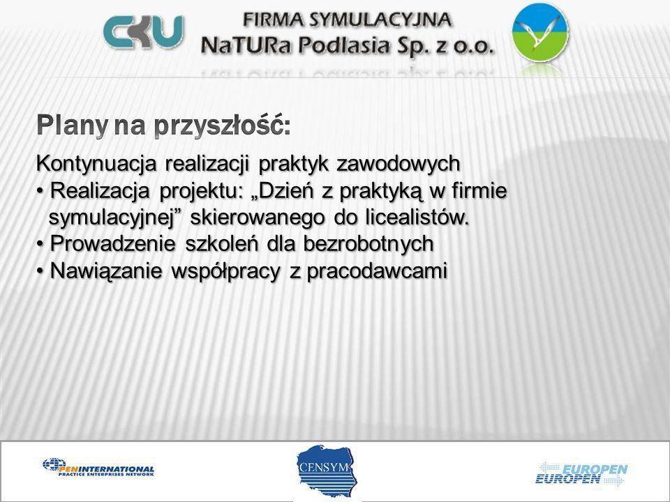 Kontynuacja realizacji praktyk zawodowych Realizacja projektu: Dzień z praktyką w firmie symulacyjnej skierowanego do licealistów. Realizacja projektu