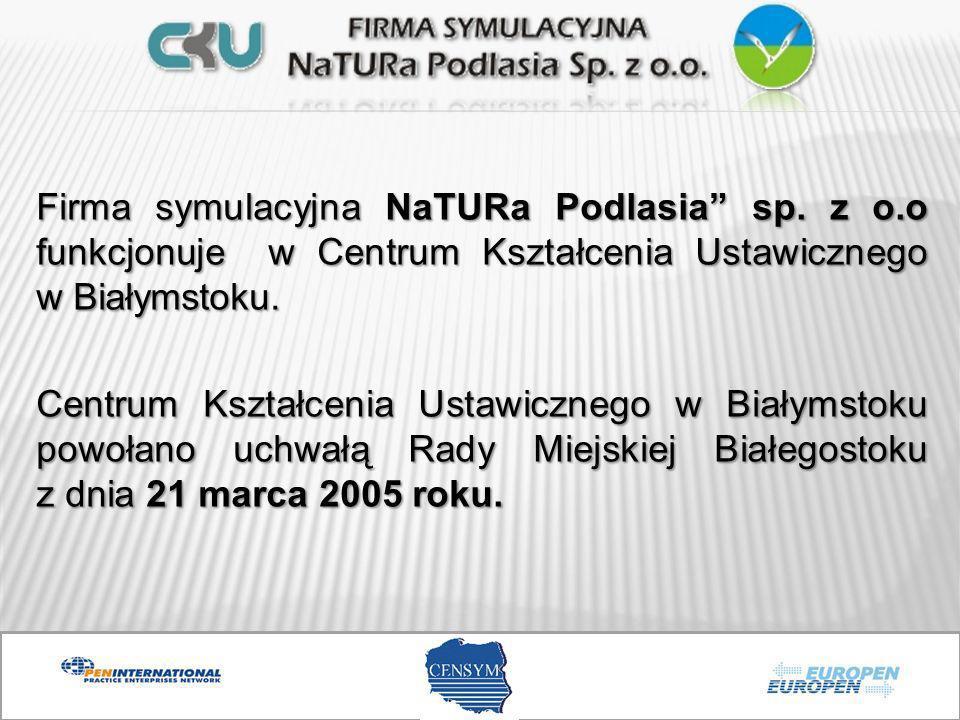 Firma symulacyjna NaTURa Podlasia sp. z o.o funkcjonuje w Centrum Kształcenia Ustawicznego w Białymstoku. Centrum Kształcenia Ustawicznego w Białymsto
