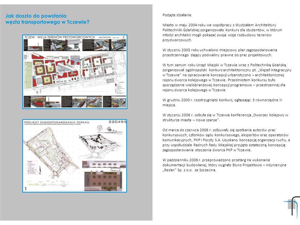 Podjęte działania: Miasto w maju 2004 roku we współpracy z Wydziałem Architektury Politechniki Gdańskiej zorganizowało konkurs dla studentów, w którym młodzi architekci mogli pokazać swoja wizje rozbudowy terenów przydworcowych.