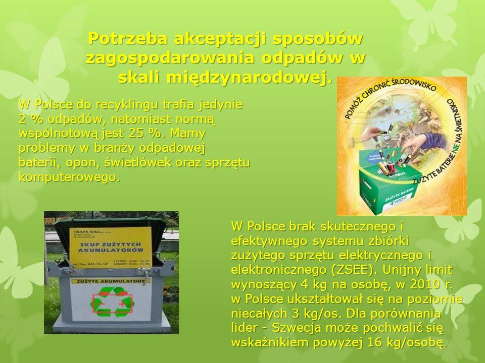 Potrzeba akceptacji sposobów zagospodarowania odpadów w skali międzynarodowej. W Polsce brak skutecznego i efektywnego systemu zbiórki zużytego sprzęt