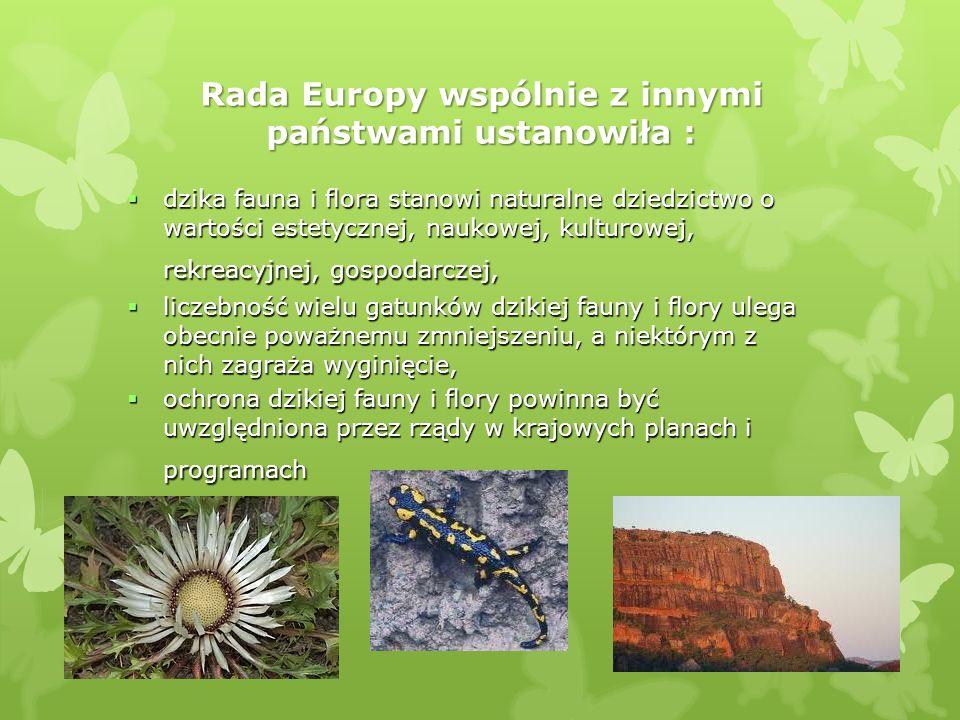 Rada Europy wspólnie z innymi państwami ustanowiła : dzika fauna i flora stanowi naturalne dziedzictwo o wartości estetycznej, naukowej, kulturowej, r