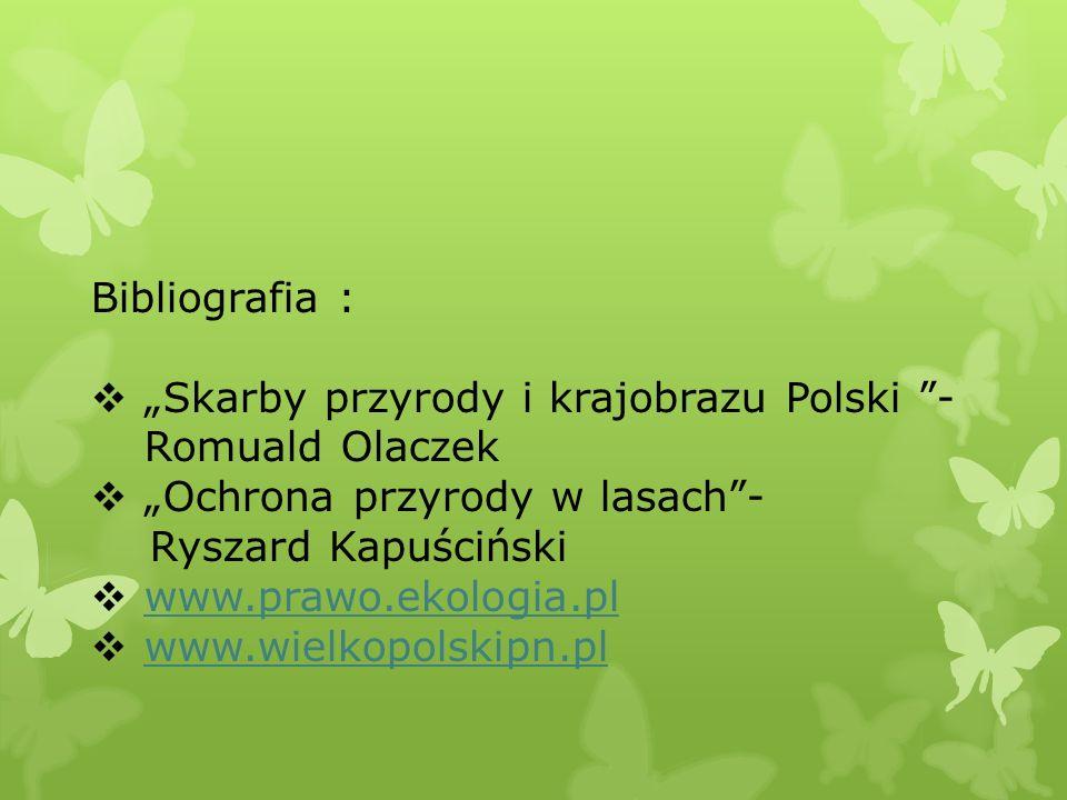 Bibliografia : Skarby przyrody i krajobrazu Polski - Romuald Olaczek Ochrona przyrody w lasach- Ryszard Kapuściński www.prawo.ekologia.pl www.wielkopo