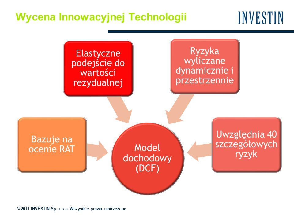 Wycena Innowacyjnej Technologii Model dochodowy (DCF) Uwzględnia 40 szczegółowych ryzyk Ryzyka wyliczane dynamicznie i przestrzennie Elastyczne podejście do wartości rezydualnej Bazuje na ocenie RAT © 2011 INVESTIN Sp.