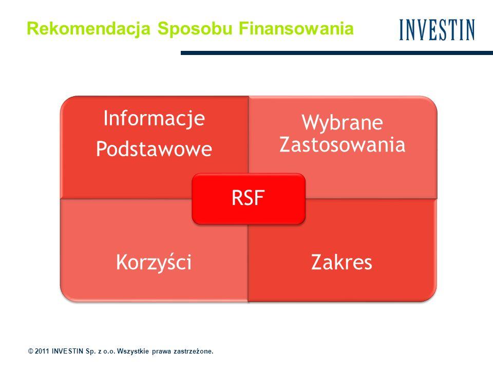 Rekomendacja Sposobu Finansowania © 2011 INVESTIN Sp. z o.o. Wszystkie prawa zastrzeżone. Informacje Podstawowe Wybrane Zastosowania KorzyściZakres RS