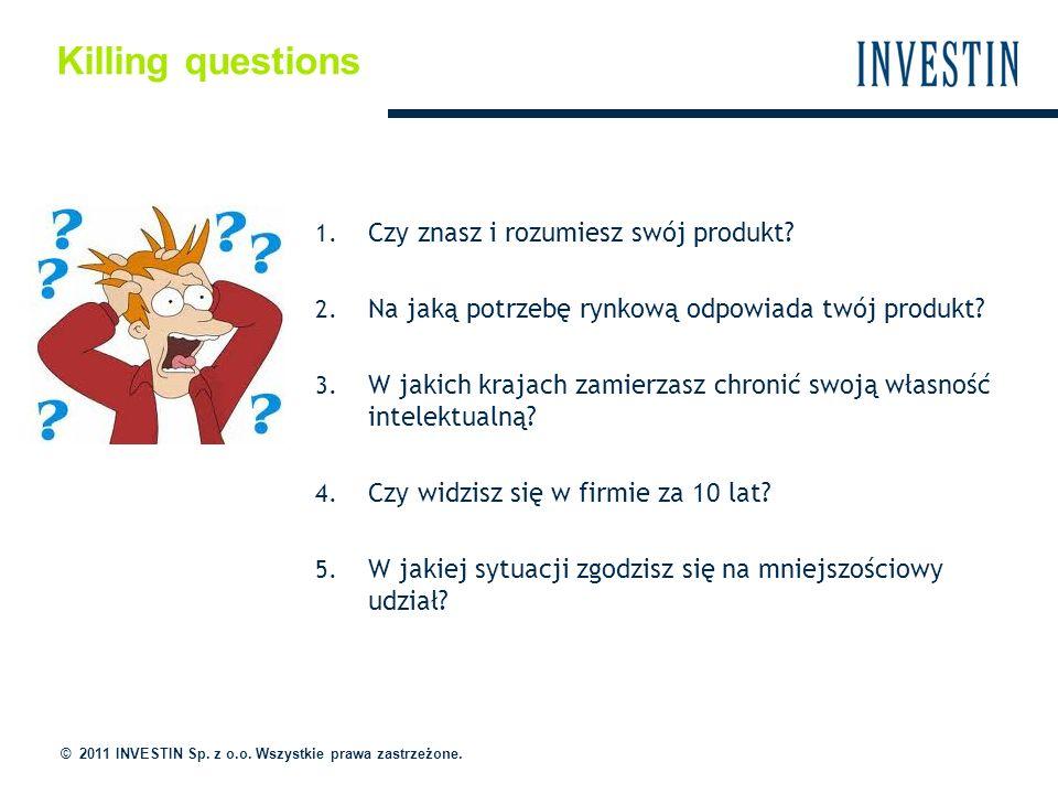 Killing questions © 2011 INVESTIN Sp. z o.o. Wszystkie prawa zastrzeżone. 1. Czy znasz i rozumiesz swój produkt? 2. Na jaką potrzebę rynkową odpowiada