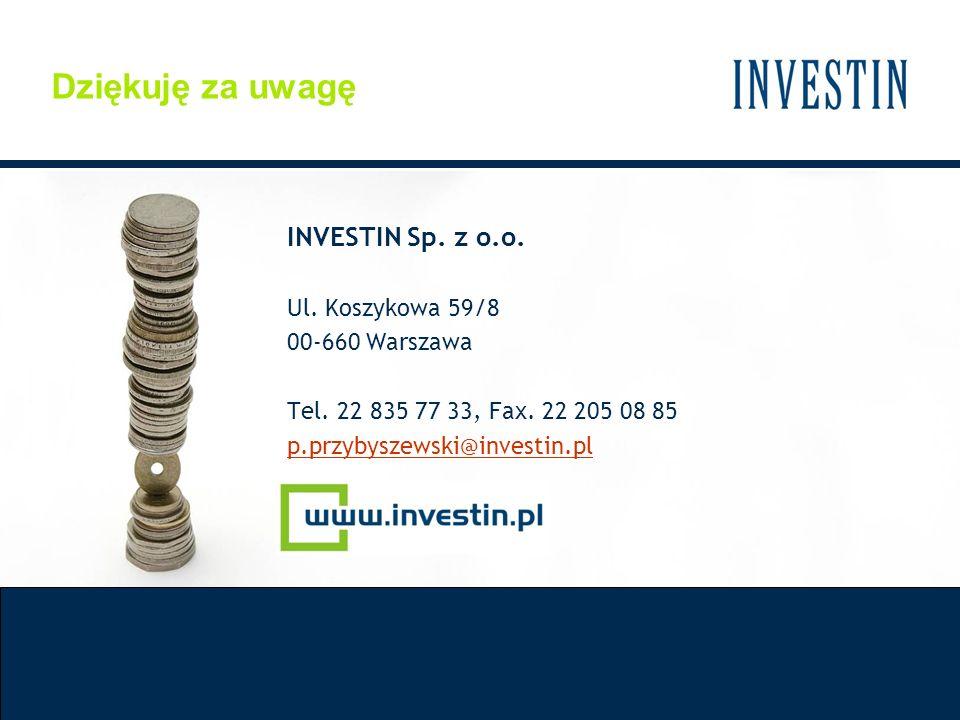 INVESTIN Sp. z o.o. Ul. Koszykowa 59/8 00-660 Warszawa Tel. 22 835 77 33, Fax. 22 205 08 85 p.przybyszewski@investin.pl Dziękuję za uwagę