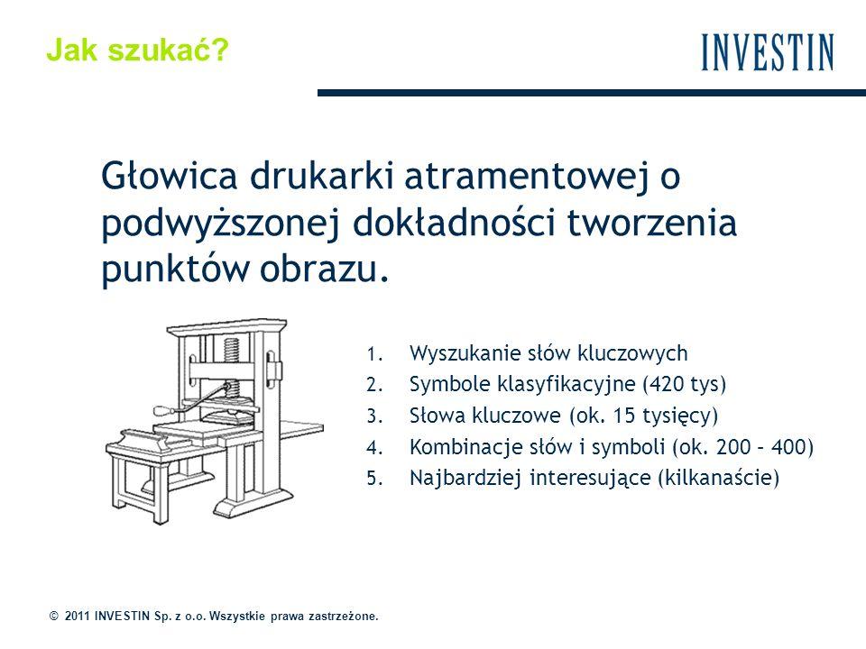 Jak szukać? © 2011 INVESTIN Sp. z o.o. Wszystkie prawa zastrzeżone. 1. Wyszukanie słów kluczowych 2. Symbole klasyfikacyjne (420 tys) 3. Słowa kluczow