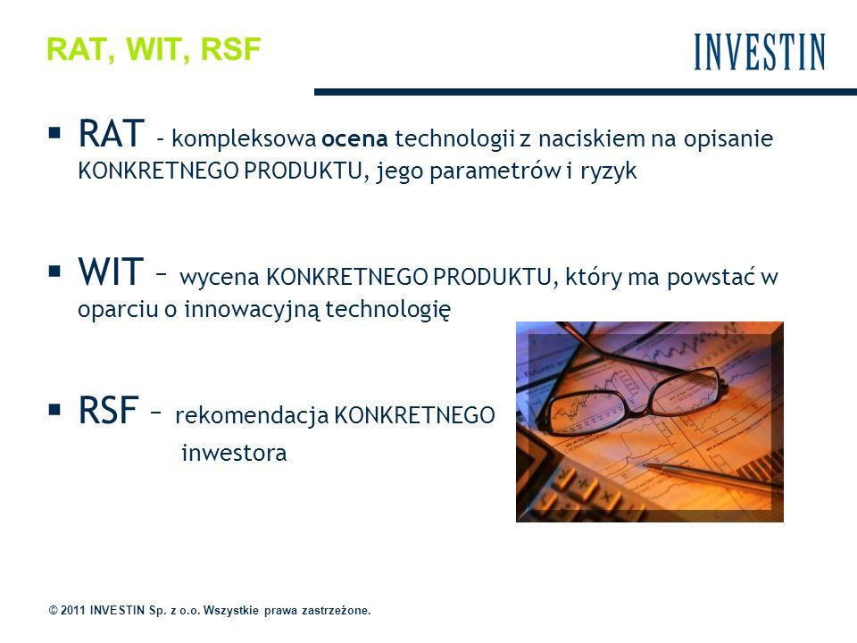 RAT, WIT, RSF RAT – kompleksowa ocena technologii z naciskiem na opisanie KONKRETNEGO PRODUKTU, jego parametrów i ryzyk WIT – wycena KONKRETNEGO PRODUKTU, który ma powstać w oparciu o innowacyjną technologię RSF – rekomendacja KONKRETNEGO inwestora © 2011 INVESTIN Sp.