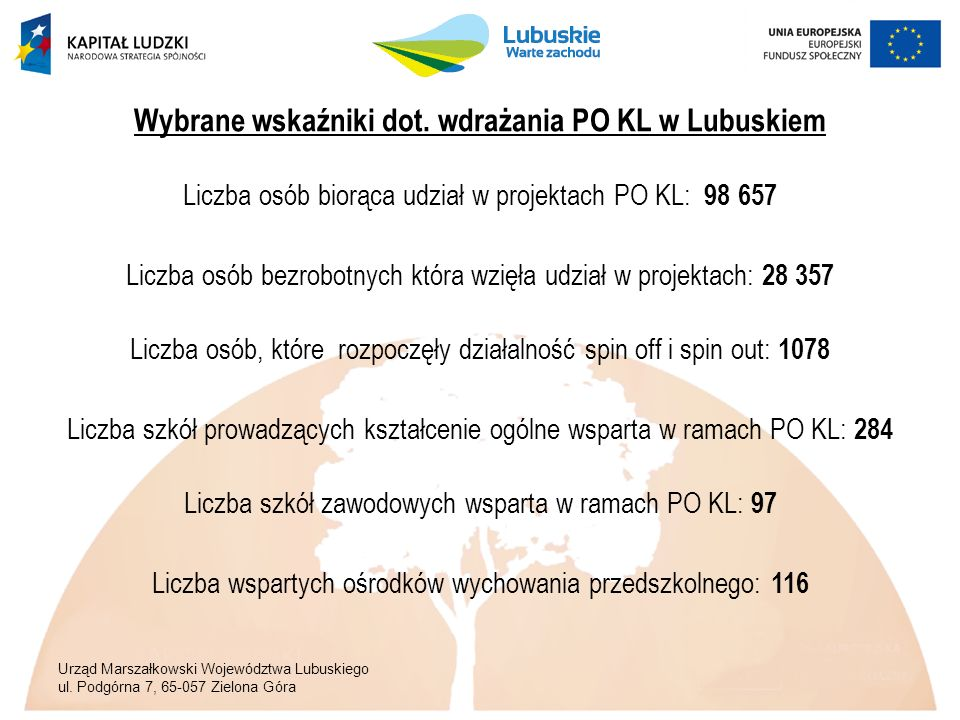 Urząd Marszałkowski Województwa Lubuskiego ul. Podgórna 7, 65-057 Zielona Góra Wybrane wskaźniki dot. wdrażania PO KL w Lubuskiem Liczba osób biorąca