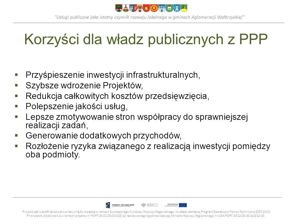 Usługi publiczne jako istotny czynnik rozwoju lokalnego w gminach Aglomeracji Wałbrzyskiej Korzyści dla władz publicznych z PPP Przyśpieszenie inwestycji infrastrukturalnych, Szybsze wdrożenie Projektów, Redukcja całkowitych kosztów przedsięwzięcia, Polepszenie jakości usług, Lepsze zmotywowanie stron współpracy do sprawniejszej realizacji zadań, Generowanie dodatkowych przychodów, Rozłożenie ryzyka związanego z realizacją inwestycji pomiędzy oba podmioty.