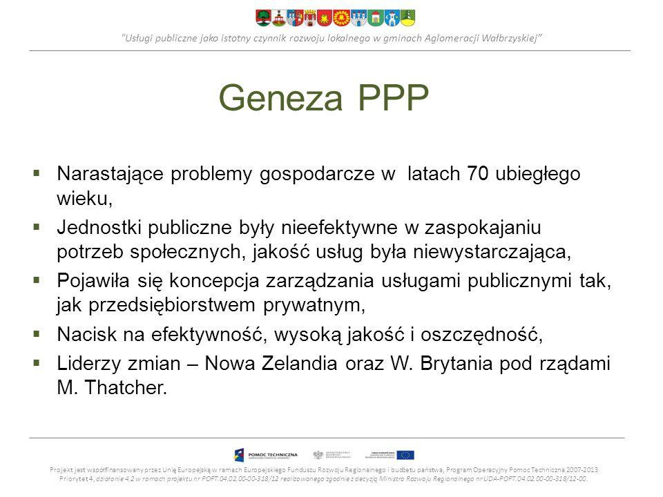 Usługi publiczne jako istotny czynnik rozwoju lokalnego w gminach Aglomeracji Wałbrzyskiej Geneza PPP Narastające problemy gospodarcze w latach 70 ubiegłego wieku, Jednostki publiczne były nieefektywne w zaspokajaniu potrzeb społecznych, jakość usług była niewystarczająca, Pojawiła się koncepcja zarządzania usługami publicznymi tak, jak przedsiębiorstwem prywatnym, Nacisk na efektywność, wysoką jakość i oszczędność, Liderzy zmian – Nowa Zelandia oraz W.