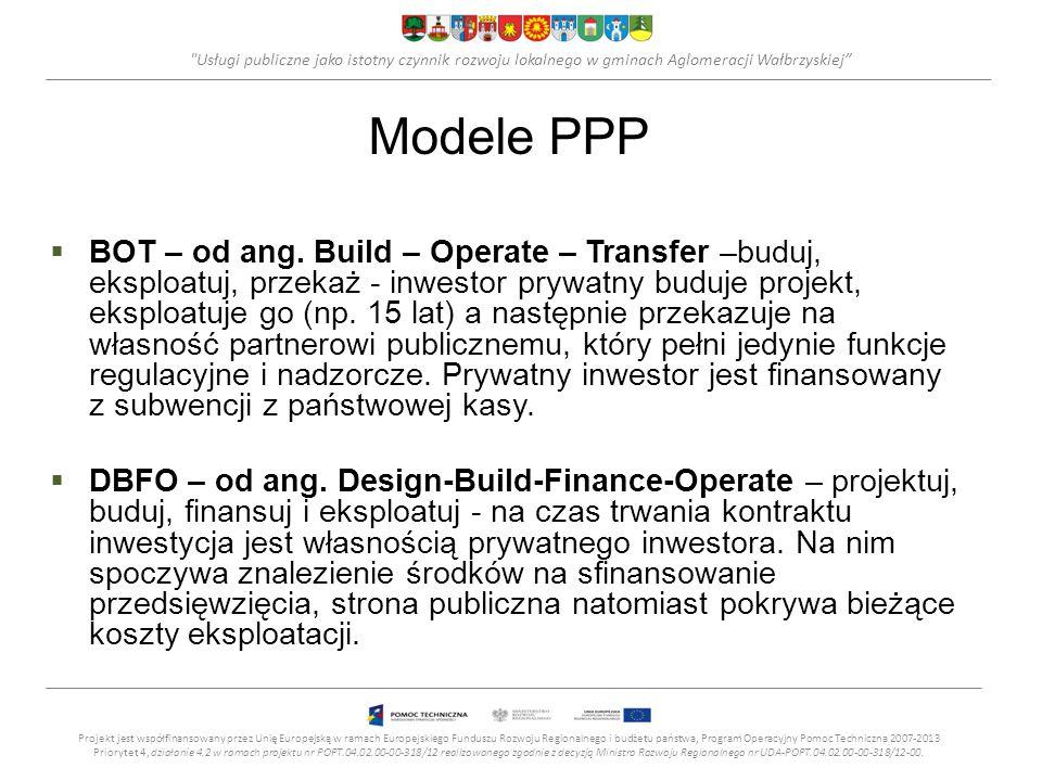 Usługi publiczne jako istotny czynnik rozwoju lokalnego w gminach Aglomeracji Wałbrzyskiej Modele PPP BOT – od ang.
