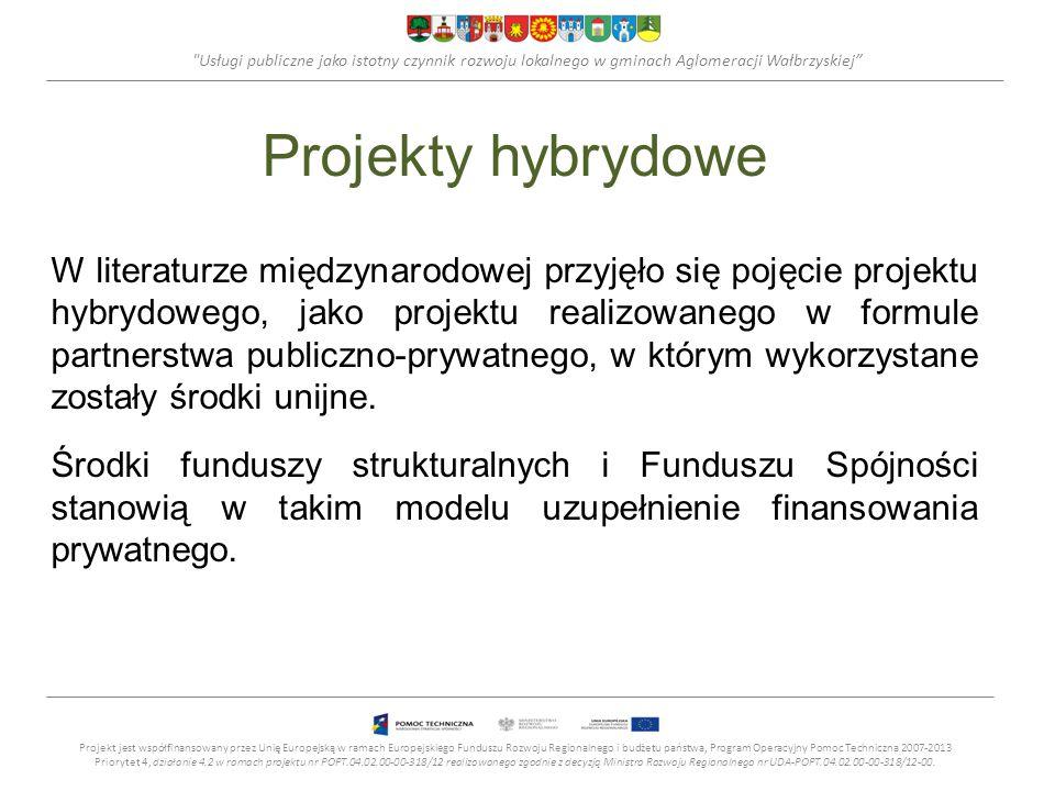 Usługi publiczne jako istotny czynnik rozwoju lokalnego w gminach Aglomeracji Wałbrzyskiej Projekty hybrydowe W literaturze międzynarodowej przyjęło się pojęcie projektu hybrydowego, jako projektu realizowanego w formule partnerstwa publiczno-prywatnego, w którym wykorzystane zostały środki unijne.