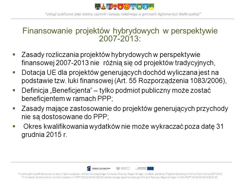 Usługi publiczne jako istotny czynnik rozwoju lokalnego w gminach Aglomeracji Wałbrzyskiej Finansowanie projektów hybrydowych w perspektywie 2007-2013: Zasady rozliczania projektów hybrydowych w perspektywie finansowej 2007-2013 nie różnią się od projektów tradycyjnych, Dotacja UE dla projektów generujących dochód wyliczana jest na podstawie tzw.