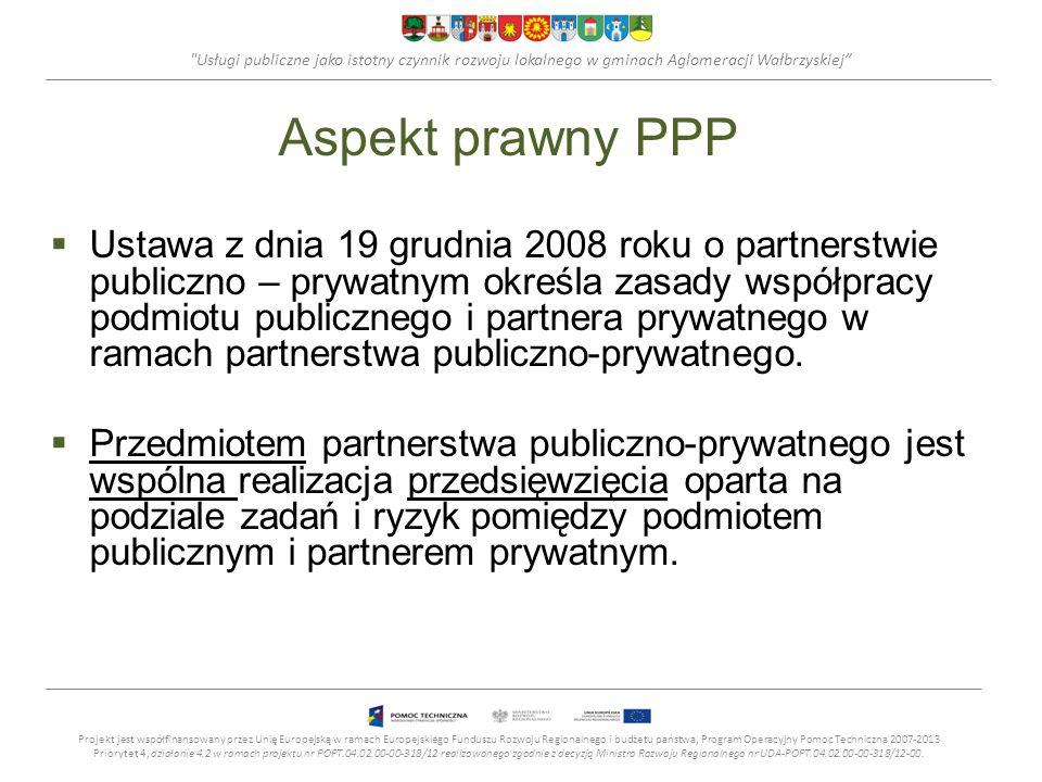 Usługi publiczne jako istotny czynnik rozwoju lokalnego w gminach Aglomeracji Wałbrzyskiej Aspekt prawny PPP Ustawa z dnia 19 grudnia 2008 roku o partnerstwie publiczno – prywatnym określa zasady współpracy podmiotu publicznego i partnera prywatnego w ramach partnerstwa publiczno-prywatnego.