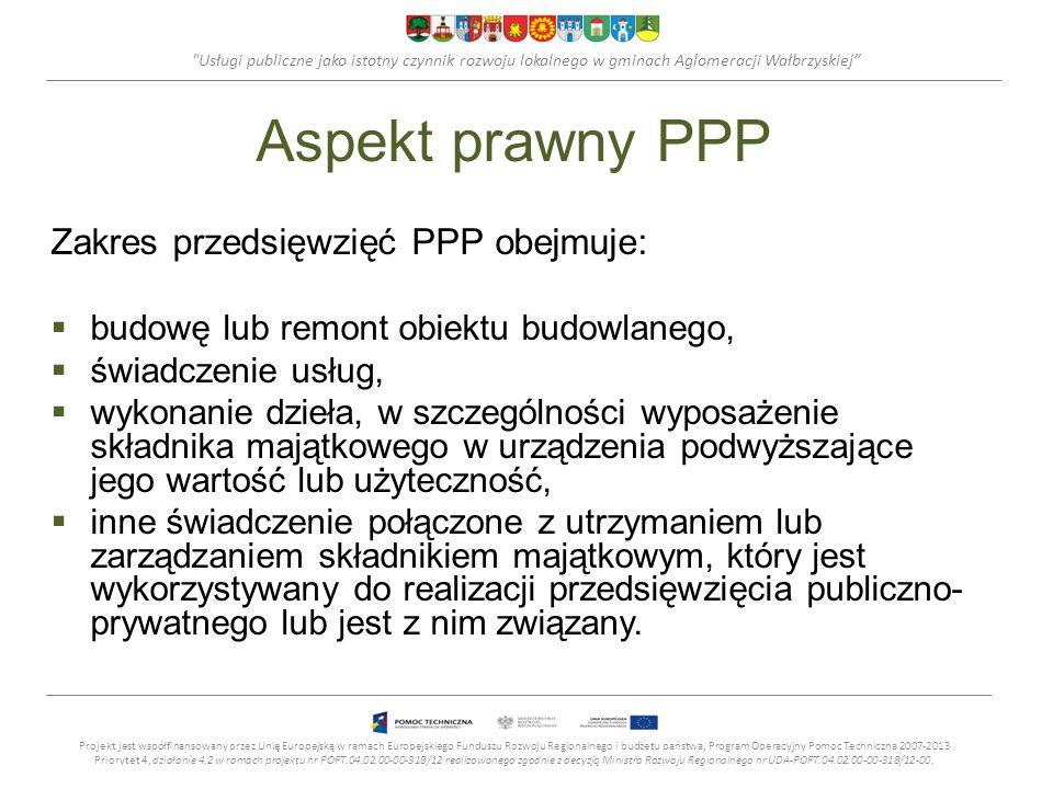Usługi publiczne jako istotny czynnik rozwoju lokalnego w gminach Aglomeracji Wałbrzyskiej Aspekt prawny PPP Zakres przedsięwzięć PPP obejmuje: budowę lub remont obiektu budowlanego, świadczenie usług, wykonanie dzieła, w szczególności wyposażenie składnika majątkowego w urządzenia podwyższające jego wartość lub użyteczność, inne świadczenie połączone z utrzymaniem lub zarządzaniem składnikiem majątkowym, który jest wykorzystywany do realizacji przedsięwzięcia publiczno- prywatnego lub jest z nim związany.