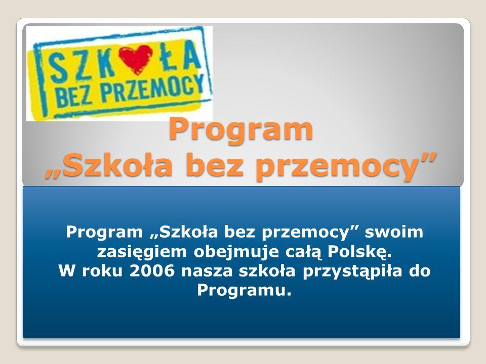 Program Szkoła bez przemocy Program Szkoła bez przemocy swoim zasięgiem obejmuje całą Polskę. W roku 2006 nasza szkoła przystąpiła do Programu. Progra