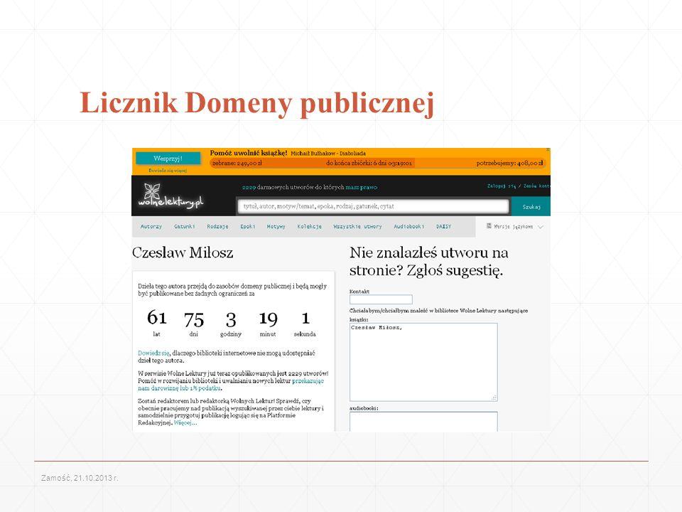 Licznik Domeny publicznej Zamość, 21.10.2013 r.