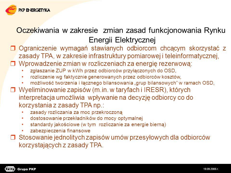 Oczekiwania w zakresie zmian zasad funkcjonowania Rynku Energii Elektrycznej Ograniczenie wymagań stawianych odbiorcom chcącym skorzystać z zasady TPA