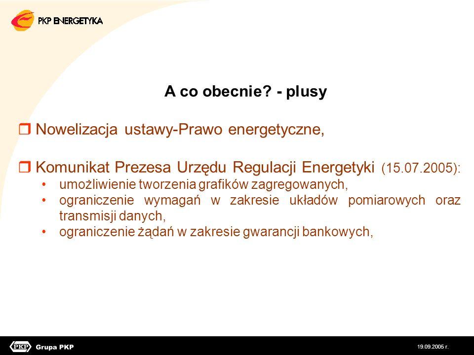A co obecnie? - plusy Nowelizacja ustawy-Prawo energetyczne, Komunikat Prezesa Urzędu Regulacji Energetyki (15.07.2005): umożliwienie tworzenia grafik