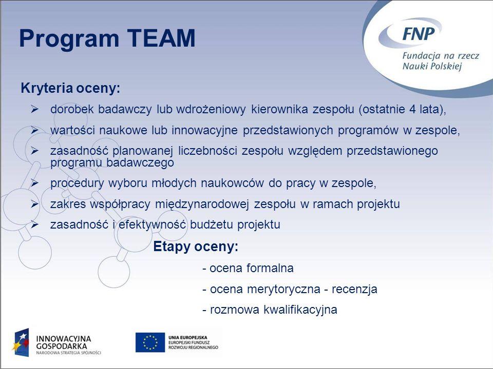 10 Kryteria oceny: dorobek badawczy lub wdrożeniowy kierownika zespołu (ostatnie 4 lata), wartości naukowe lub innowacyjne przedstawionych programów w zespole, zasadność planowanej liczebności zespołu względem przedstawionego programu badawczego procedury wyboru młodych naukowców do pracy w zespole, zakres współpracy międzynarodowej zespołu w ramach projektu zasadność i efektywność budżetu projektu Etapy oceny: - ocena formalna - ocena merytoryczna - recenzja - rozmowa kwalifikacyjna Program TEAM