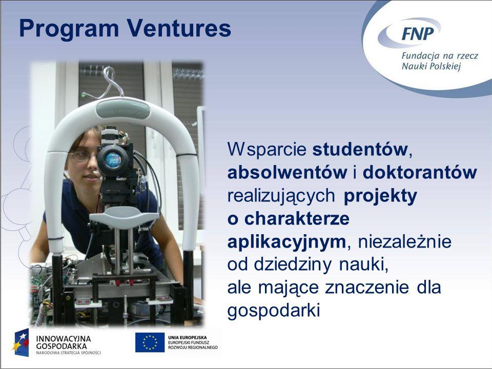 3 Program Ventures Wsparcie studentów, absolwentów i doktorantów realizujących projekty o charakterze aplikacyjnym, niezależnie od dziedziny nauki, ale mające znaczenie dla gospodarki