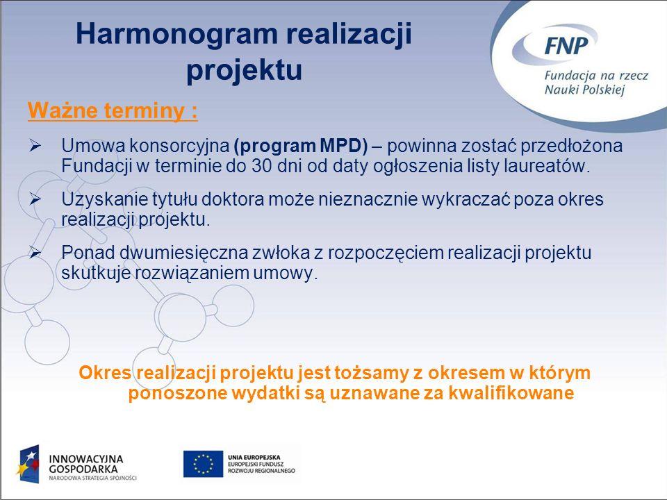 31 Ważne terminy : Umowa konsorcyjna (program MPD) – powinna zostać przedłożona Fundacji w terminie do 30 dni od daty ogłoszenia listy laureatów.