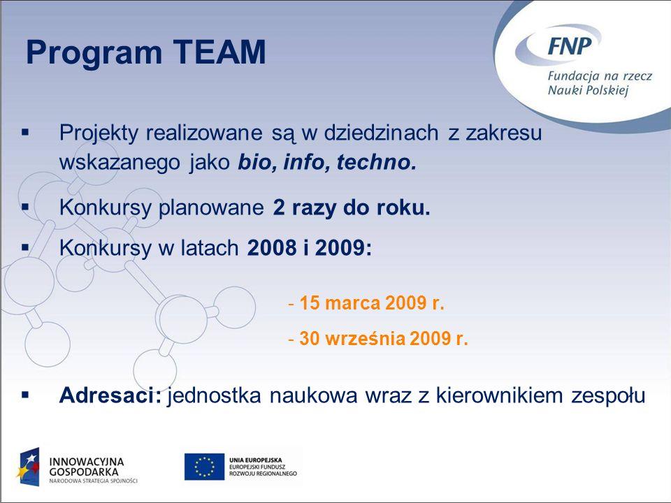 Projekty realizowane są w dziedzinach z zakresu wskazanego jako bio, info, techno.