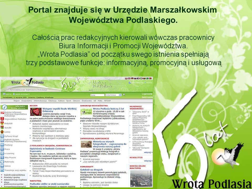 Nowe funkcjonalności wprowadzone na Wrotach Podlasia Portalowi przybyły nowe funkcjonalności – e-Learning, Praca, Przetargi, w których internauci mogą samodzielnie publikować swoje informacje.
