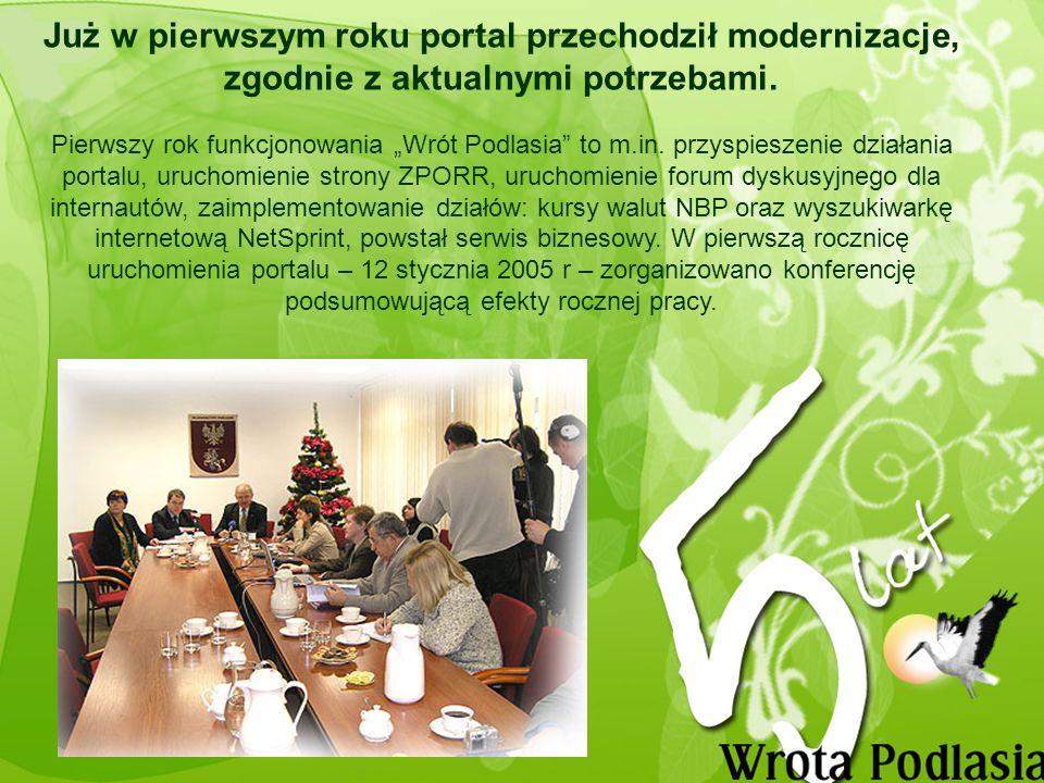 Uruchomienie Serwisu Turystycznego Województwa Podlaskiego Turystyczne Wrota Nowa platforma usług w ramach portalu Wrota Podlasia uruchomiona została 14 kwietnia 2008 r.