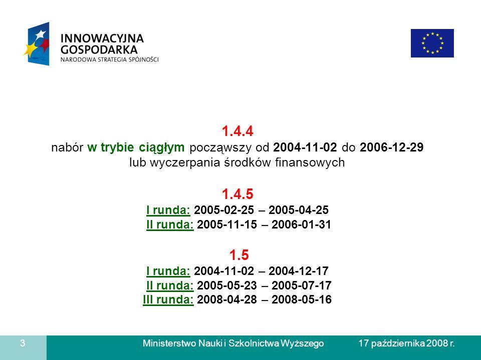 Ministerstwo Nauki i Szkolnictwa Wyższego 1.4.4 nabór w trybie ciągłym począwszy od 2004-11-02 do 2006-12-29 lub wyczerpania środków finansowych 1.4.5