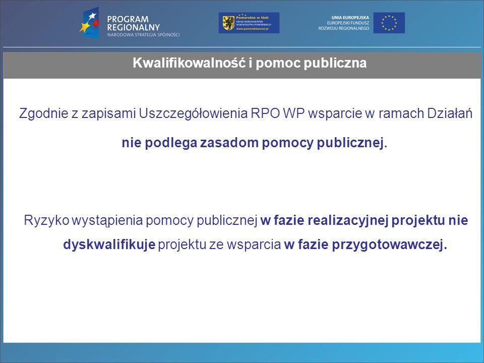 Zgodnie z zapisami Uszczegółowienia RPO WP wsparcie w ramach Działań nie podlega zasadom pomocy publicznej.