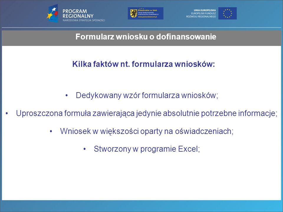 Formularz wniosku o dofinansowanie Kilka faktów nt.