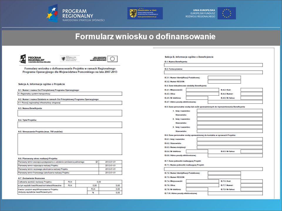 Formularz wniosku o dofinansowanie