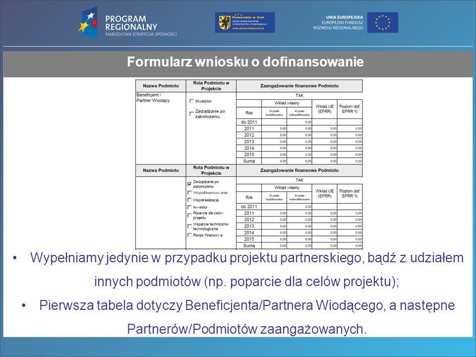 Formularz wniosku o dofinansowanie Wypełniamy jedynie w przypadku projektu partnerskiego, bądź z udziałem innych podmiotów (np.