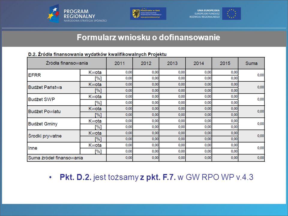 Formularz wniosku o dofinansowanie Pkt. D.2. jest tożsamy z pkt. F.7. w GW RPO WP v.4.3
