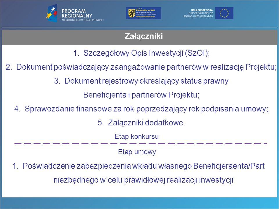 Załączniki 1.Szczegółowy Opis Inwestycji (SzOI); 2.Dokument poświadczający zaangażowanie partnerów w realizację Projektu; 3.Dokument rejestrowy określający status prawny Beneficjenta i partnerów Projektu; 4.Sprawozdanie finansowe za rok poprzedzający rok podpisania umowy; 5.Załączniki dodatkowe.