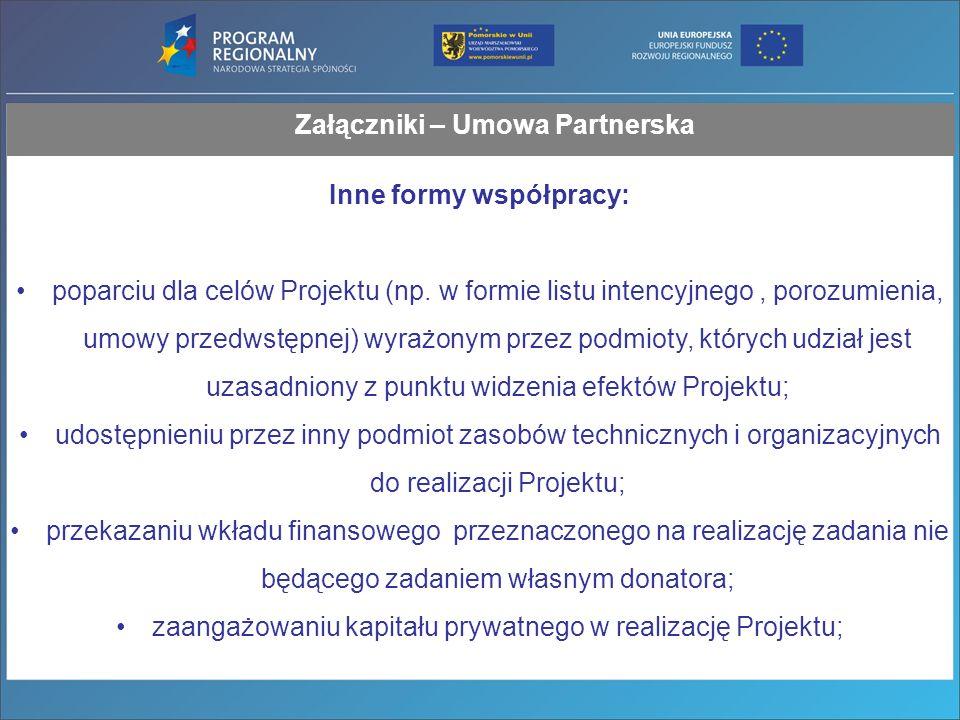 Załączniki – Umowa Partnerska Inne formy współpracy: poparciu dla celów Projektu (np.