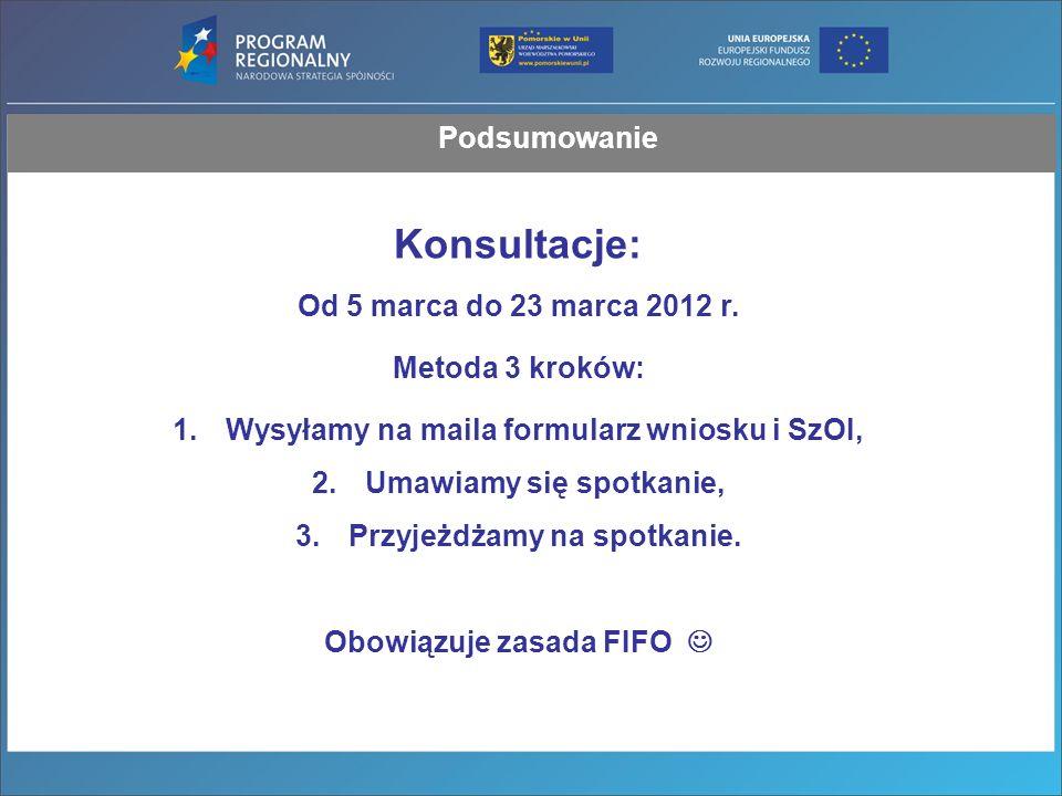 Podsumowanie Konsultacje: Od 5 marca do 23 marca 2012 r.