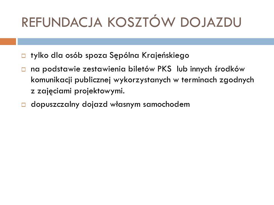 REFUNDACJA KOSZTÓW DOJAZDU tylko dla osób spoza Sępólna Krajeńskiego na podstawie zestawienia biletów PKS lub innych środków komunikacji publicznej wykorzystanych w terminach zgodnych z zajęciami projektowymi.