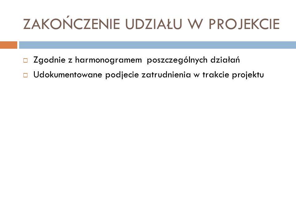ZAKOŃCZENIE UDZIAŁU W PROJEKCIE Zgodnie z harmonogramem poszczególnych działań Udokumentowane podjecie zatrudnienia w trakcie projektu