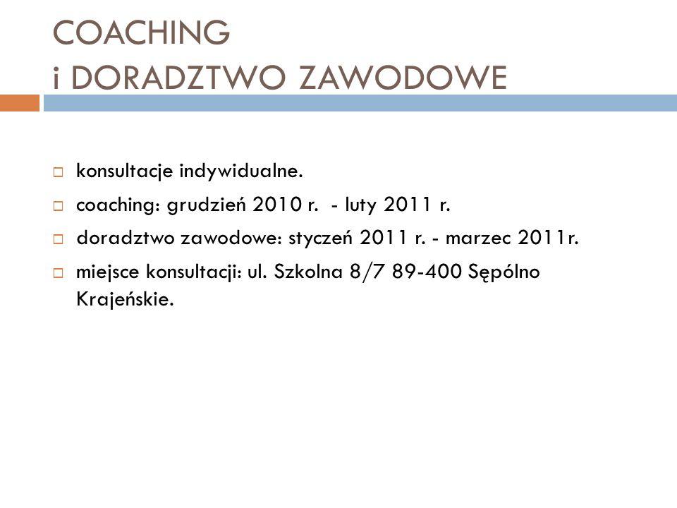 COACHING i DORADZTWO ZAWODOWE konsultacje indywidualne.