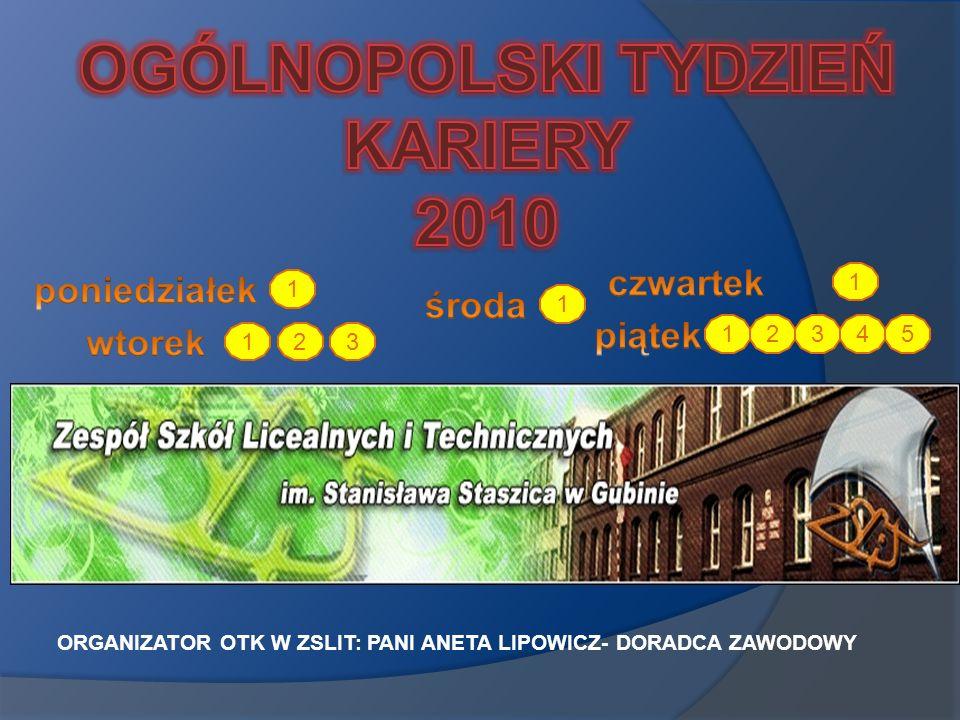 ORGANIZATOR OTK W ZSLIT: PANI ANETA LIPOWICZ- DORADCA ZAWODOWY 1 1 23 1 1 1 2345