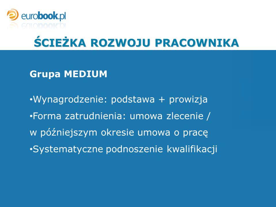 Grupa MEDIUM Wynagrodzenie: podstawa + prowizja Forma zatrudnienia: umowa zlecenie / w późniejszym okresie umowa o pracę Systematyczne podnoszenie kwalifikacji ŚCIEŻKA ROZWOJU PRACOWNIKA