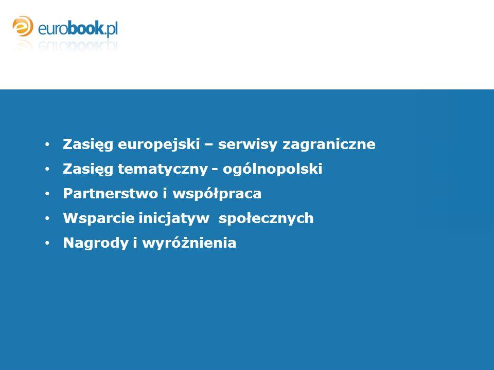 Zasięg europejski – serwisy zagraniczne Zasięg tematyczny - ogólnopolski Partnerstwo i współpraca Wsparcie inicjatyw społecznych Nagrody i wyróżnienia