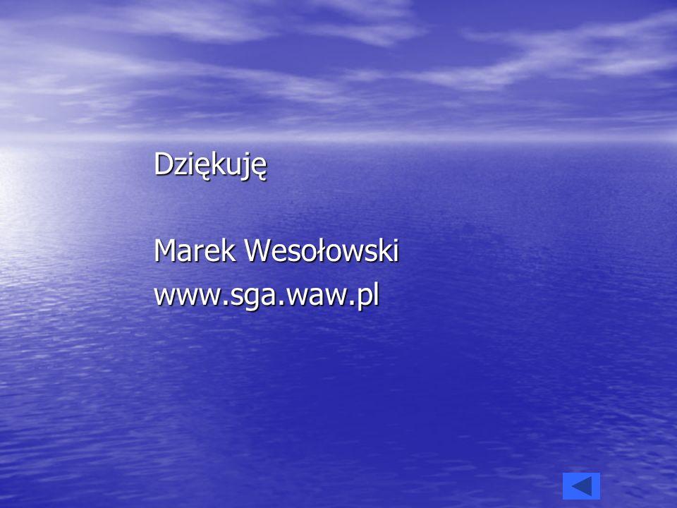 Dziękuję Marek Wesołowski www.sga.waw.pl