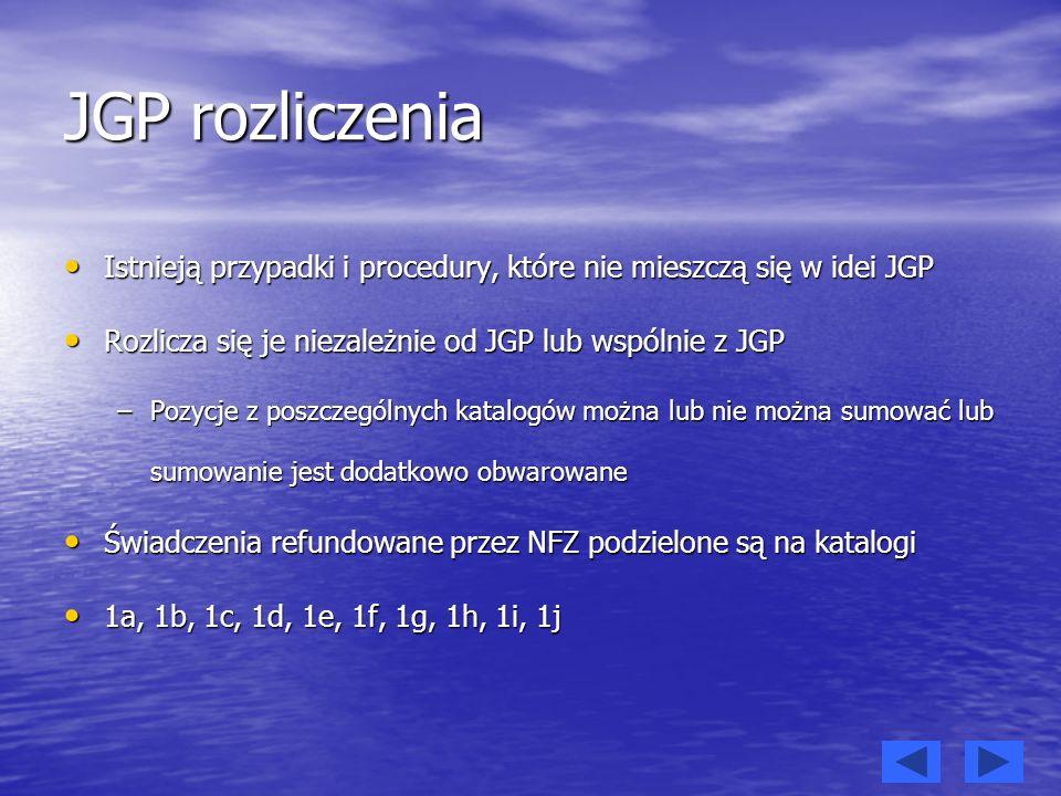 JGP rozliczenia Istnieją przypadki i procedury, które nie mieszczą się w idei JGP Istnieją przypadki i procedury, które nie mieszczą się w idei JGP Ro