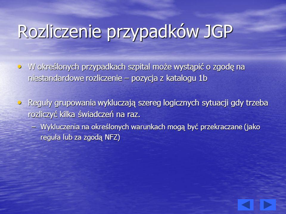 Rozliczenie przypadków JGP W określonych przypadkach szpital może wystąpić o zgodę na niestandardowe rozliczenie – pozycja z katalogu 1b W określonych