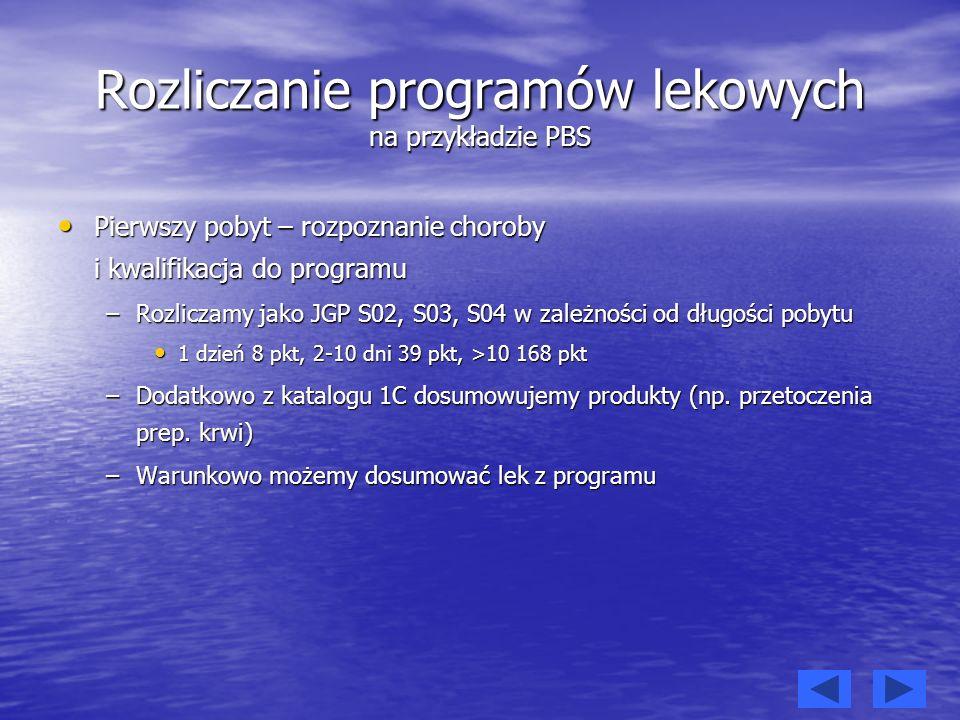 Rozliczanie programów lekowych cd.